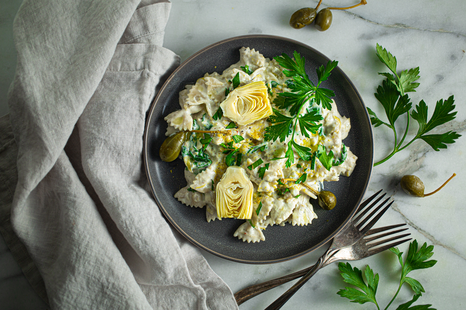 Vegan Artichoke and Garlic Pasta