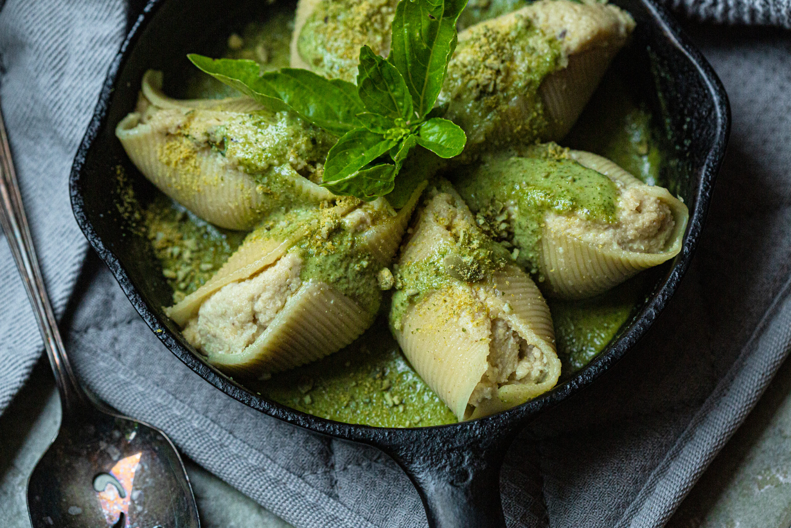 Vegan Stuffed Pesto Shells