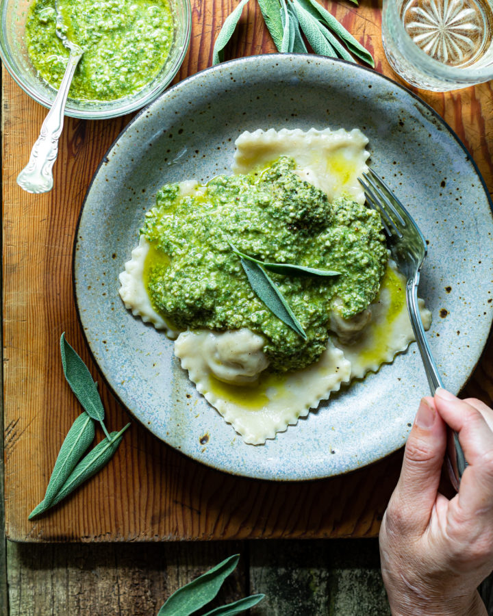 Vegan Pesto Ravioli