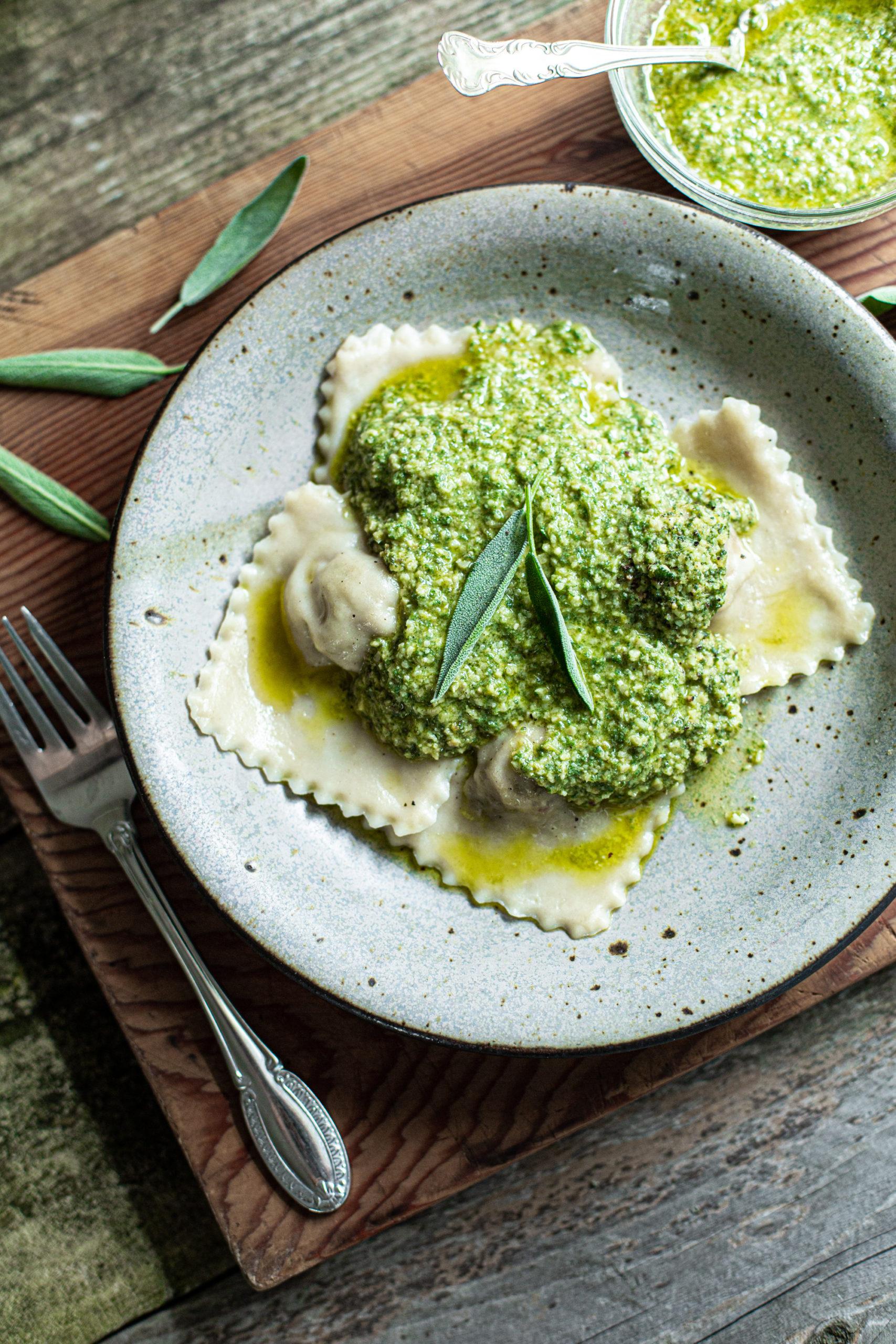 Vegan Pesto Ravioli