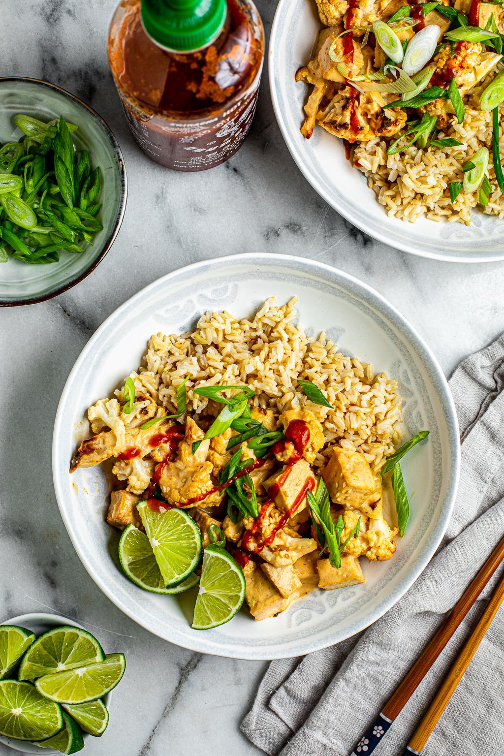 Bang Bang Tofu and Cauliflower Bowl